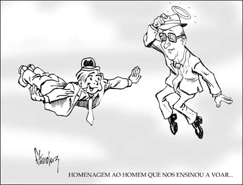 Homenagem do desenhista baiano Flávio Luiz: Eisner encontra Gerhard Shnobble, um dos mais marcantes coadjuvantes do Spirit