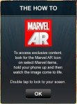 Explicação de uso do recurso de realidade aumentada da Marvel