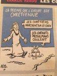 Charge (uma capa rejeitada) usada internamente na revista Charlie Hebdo