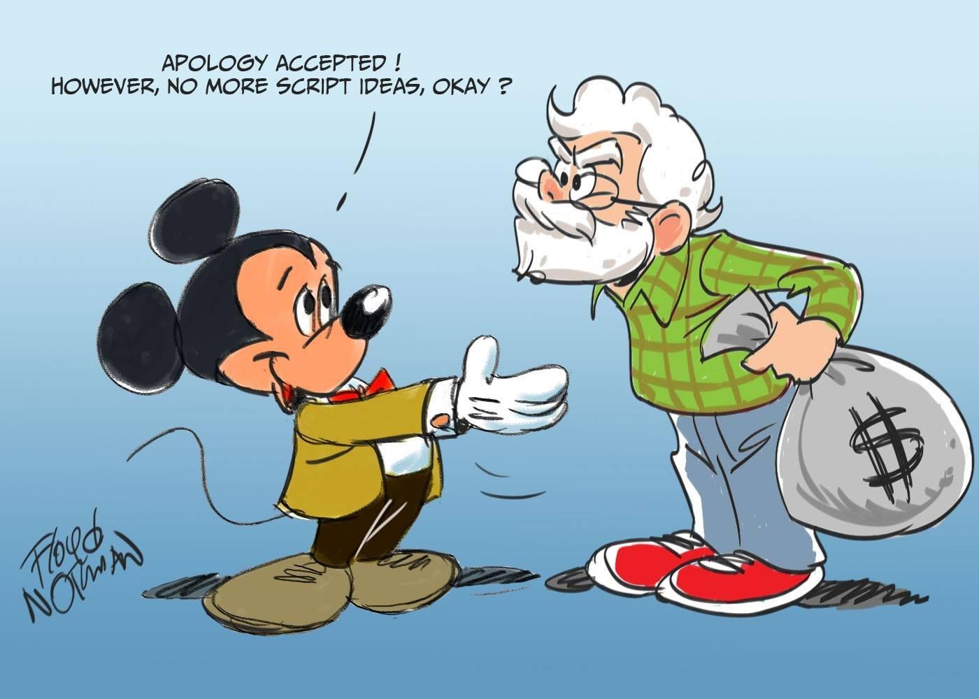 cartunista da disney provoca george lucas em série de charges
