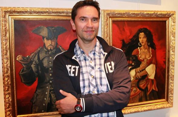 Enrico Marini e os personagens de O Escorpião