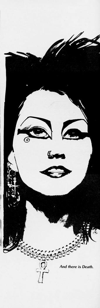 Desenho de Mike Dringenberg, inspirado em Cinamon Hadley, publicado em Sandman # 11