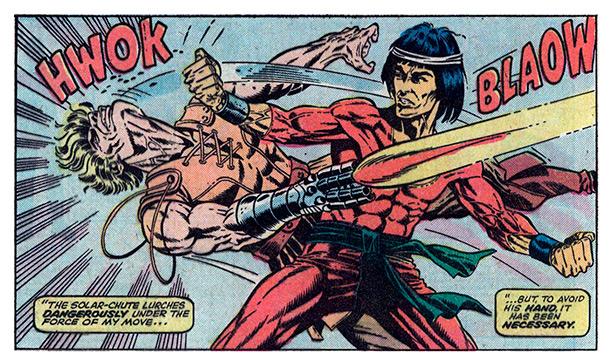Shang Chi enfrenta Mordilo, arte de Paul Gulacy
