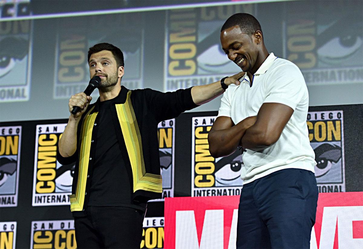 Sebastian Stan (Soldado Invernal) e Anthony Mackie (Falcão / novo Capitão América)