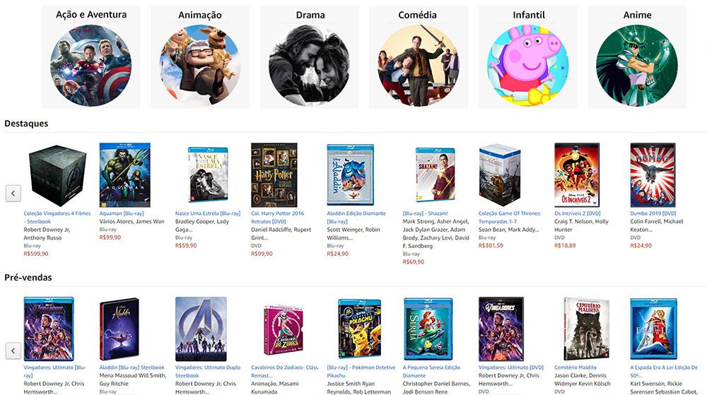 Blu-rays na Amazon