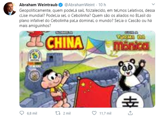 Postagem de Abraham Weintraub no Twitter