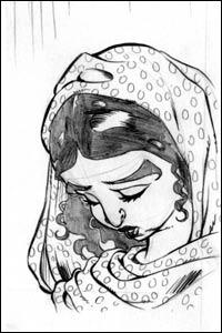 Desenho a lápis da personagem Maria