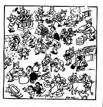 Desenho de 1954 de Kim Yong-hwan o pai das HQs coreanas