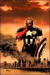 Capitão América chora pelas vítimas dos atentados de 11 de setembro. Desenho do brasileiro Mike Deodato Jr.