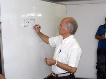 Berardi durante workshop de roteiro