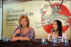 Sonia Luyten e Ken Takahama falam sobre mangás - Foto de Glenio Campregher