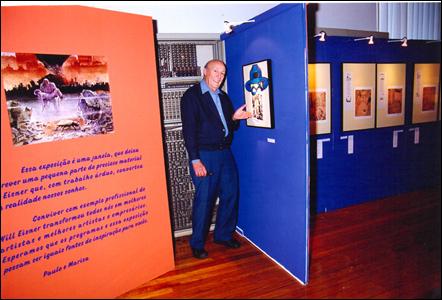 Will Eisner na exposição em sua homenagem no Rio de Janeiro