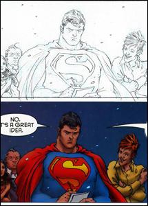 Detalhe de uma quadro de All-Star Superman #7 (texto de Grant Morrison, desenho de Frank Quitely e arte-final digital e cores de Jamie Grant)