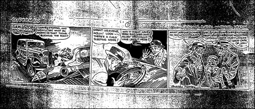 Tira de Superman desenhada por Russell Keaton