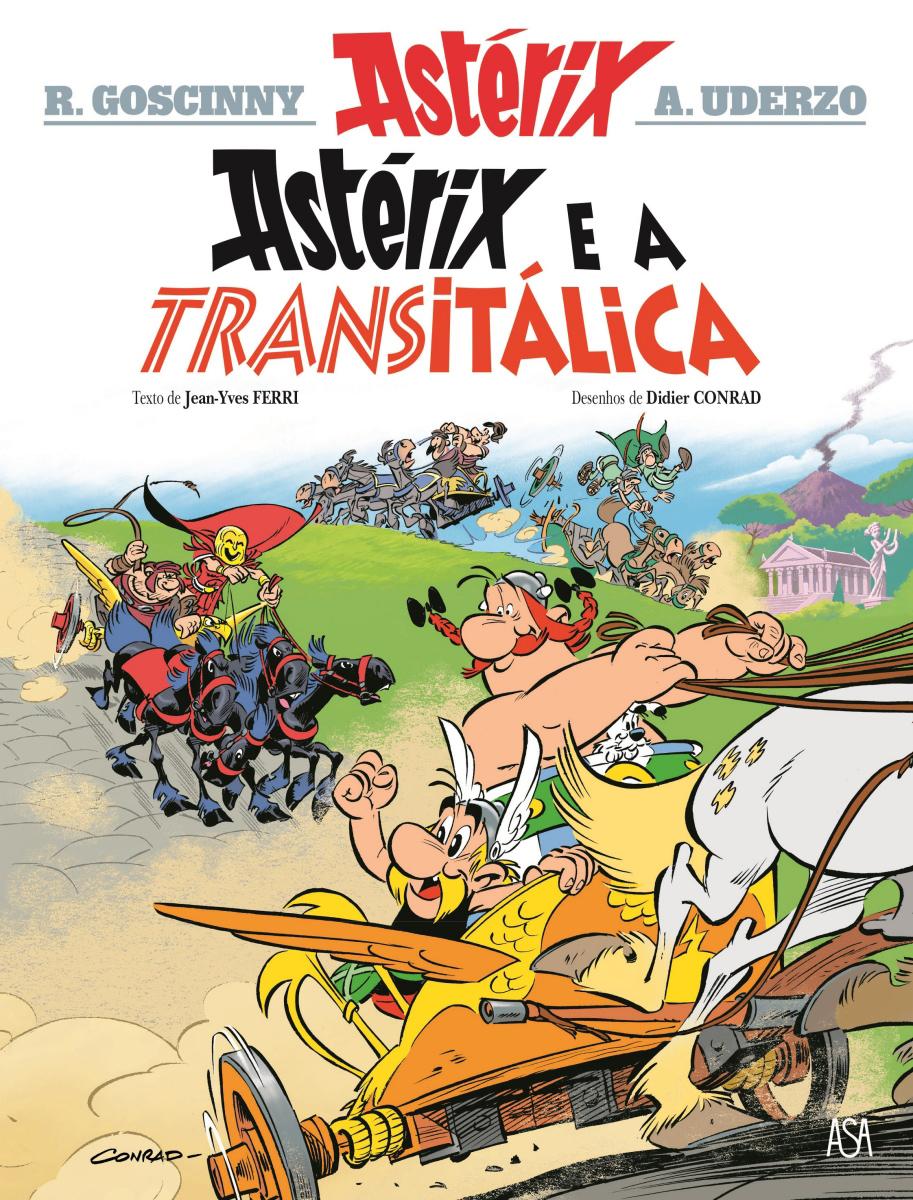 Capa da edição portuguesa deAstérix e a Transitálica