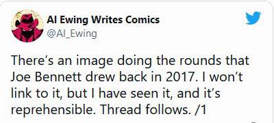 Início do fio de Al Ewing sobre Joe Bennett, no Twitter